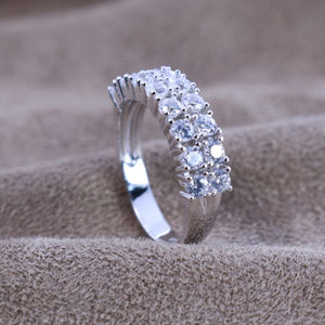 3.2 ct.tw 2 Eternity Band Ring-Brilliant Cut Deco